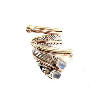 Moonstone Two Stone Adjustable Sterling Silver Wrap Ring