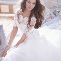 Hoting white/ivory A-Line Wedding Dresses Mermaid Lace Bridal Gown Custom Size