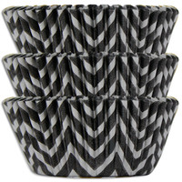 Black & Silver Chevron Baking Cups