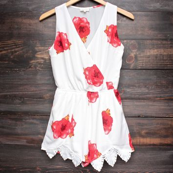 a wonderful thing floral romper - red