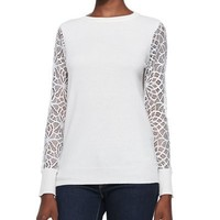 Black Cashmere Lace-Sleeve Sweater - $225
