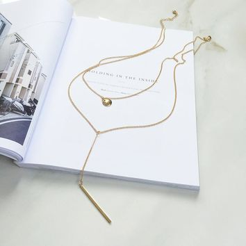 Gift Shiny New Arrival Jewelry Design Sweater Chain Stylish Simple Design Gold Metal Necklace [10412391764]