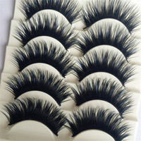 5 Pairs Double Colour Blue+Black Soft Thick Cross False Eyelashes Eye Lashes Makeup Extension Tools