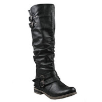 Refresh by Beston Women's 'Bailey-03' Black Riding Boots