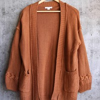final sale - someday maybe open-front knit cardigan - camel