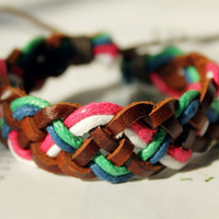 Cute multicolor Friendship Fall/Autumn Gift Braid Cotton Rope Brown Leather Weaved Wrap Adjustable Bracelet W-02