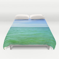 Green Waters - Duvet Cover, Blue Green Ocean Bedding, Beach Surf Bohemian Chic Bed Blanket Throw. Available in Full / Queen / King Size