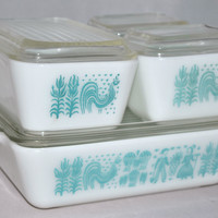 Vintage Glassware-Refrigerator Dishes-Turquoise-Pyrex-Butterprint