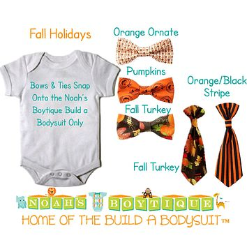 Thanksgiving Fall Snap on Bow Ties and Ties by Noah's Boytique