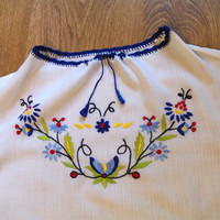 Vintage Embroidered Women's White Blouse Polish blouse Ukrainian sorochka/ Shirt - Vyshyvanka size S Small/ Made in Poland/ Hand Embroidered