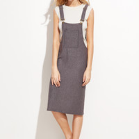Grey Pinafore Ribbed Pocket Dress