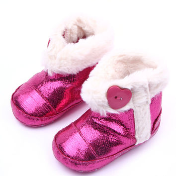Baby Infant Girls PU Leather Booties Warm Furry Soft Todder Boots Shoes NW