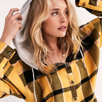BDG Darcy Hooded Flannel Button-Down Top | Urban Outfitters