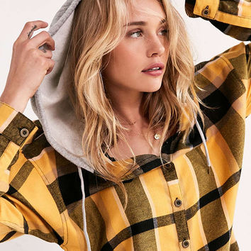 BDG Darcy Hooded Flannel Button-Down Top   Urban Outfitters