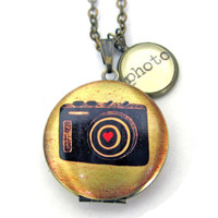 Camera Painted Locket Photo Love Photography Photographer Word Pendant Brass Setting Library Card Necklace One of a Kind