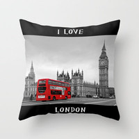Black and White London with Red Bus Throw Pillow by Alice Gosling | Society6