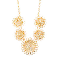 Amanda Gold and Pearl Flowers Statement Necklace