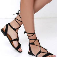 Floating on Air Black Nubuck Lace-Up Sandals