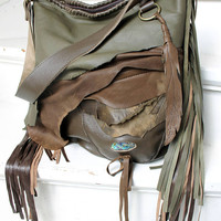 Green khaki brown earthy colors bag fringe  bohemian purse festival bag unique by sweetsmokebags gypsy free people tribal nature unique
