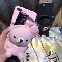 Cute 3D bear card make up wallet soft case for iphone 5 6 s 7 8 plus X XR XS MAX cover for samsung galaxy S6 S7 edge S8 S9 note