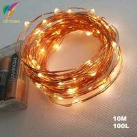 AA Battery Operated 33FT 10M 100 led Christmas Holiday Wedding Party  Decoration LED Copper Wire String Fairy Lights Lamps