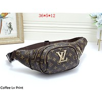 LV female classic old chess board chest bag shoulder bag coffee lv print