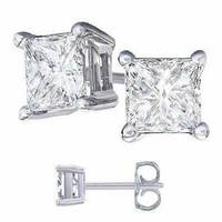 Cubic Zirconia Princess Cut 925 Sterling Silver Stud Earrings. 1/2 Carat Total Weight Princess White Cz.: Jewelry: Amazon.com