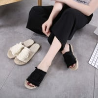 Fashion Casual Straw Weave Sandals  Slippers Flats Shoes Women Fisherman Shoes