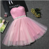 New summer short paragraph small evening dress bridesmaid sisters strapless dress