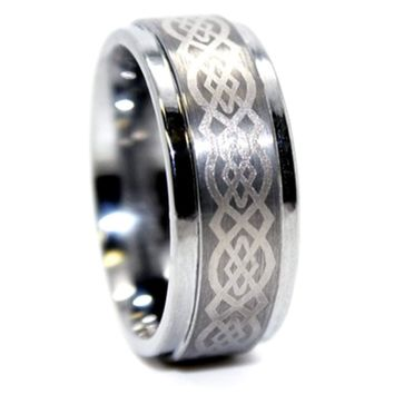 CERTIFIED 9mm Solid Tungsten Carbide Silver-colored Celtic Design Wedding Band