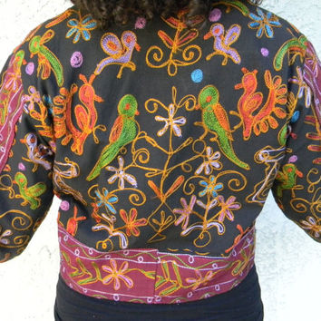 Embroidered Tribal Jacket - Vintage 90s Mexican Guatemalan Style Embroidered Bolero Jacket w Wooden Toggle Buttons - Large L