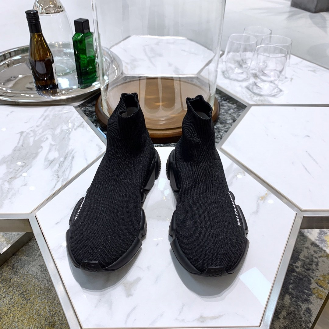 Image of Balenciaga   Trending Women's Black Leather Side Zip Lace-up Ankle Boots   Shoes High Boots