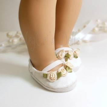 American Girl Dolls Bridal Shoes, Ivory Ballet Flats, Flower Girls, First Communion, Princess - MADE TO ORDER