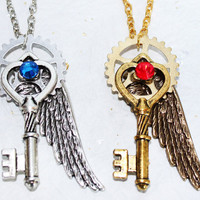 COUPLE  Steampunk Necklace - 2 Wing Gear Heart Key Steampunk Necklace - Gold & Silver - Couple Jewelry Valentines Day Gift Set