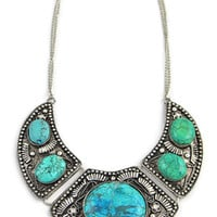 Urban Traveler Aztec Collar Necklace in Silver/Teal/Green