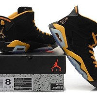 Beauty Ticks Vawa Mens Air Jordan 6 Retro High 384664-071 Basketball Shoes Black Yellow