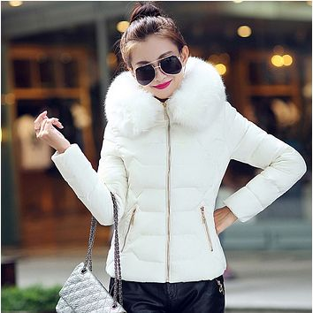 New hot sale fashion short big fur collar plus size women's padded jacket