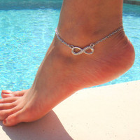 Infinity Anklet with Rhinestone Crystal   Tiffany by DeliBejeweled