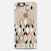 Coral, Mint, Black & White Pattern on Transparent iPhone 6 case by Micklyn Le Feuvre | Casetify