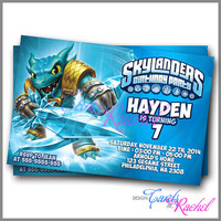 Skylanders snapshoot water - Invitation Card Design For Birthday Party Kid