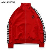 Aolamegs Men's Jacket Side Striped Graphics Couple Bomber Jacket Turtleneck Outwear Men's Coat Bomb Baseball Jackets Brand 2018