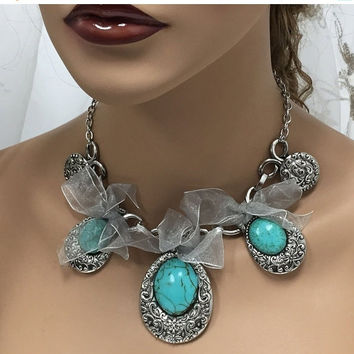 Wedding jewelry, blue stone bridal jewelry, Victorian necklace, Vintage inspired turquoise jewelry, blue stone jewelry , fashion jewelry