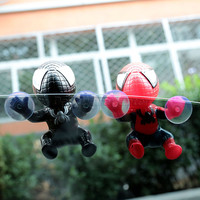 Car Styling Cute Car Sticker Climbing Spider Man Suction Cup Doll Toy 360 Degree Rotating Car Decoration Accessories Black/Red
