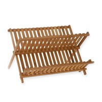 Natural Bamboo Dish Drying Rack Flatware Holder Plate Storage  Utensil Drainer Collapsible Compact Wooden Dinner Plates Holder
