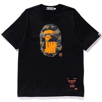 BAPE x UNDEFEATED Joint Classic Camouflage Shark Print Crew Neck Short Sleeve T-Shirt black
