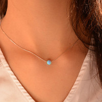 Opal necklace, Tiny opal necklace, Opal bead necklaces, Cold opal, Brilliant blue opal st. silver or gold, Bridal opal necklace, Opal ball