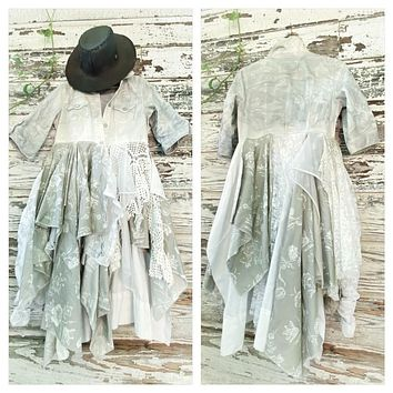 Tie dyed kimono duster, floral shabby chic summer jacket, True Rebel Clothing