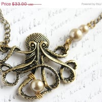 Valentines Day SALE My PEARL - Steampunk Long Single Stand Antique Brass Chain Necklace, Large Bronze Octopus Pendant, Captain Nemo Vintage