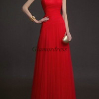 red tulle floor length evening dresses / simple slim prom gowns / cheap one shoulderd ress for party / custom drersses / elegant gowns