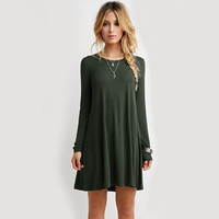 Dark Green Long Sleeve Mini Dress